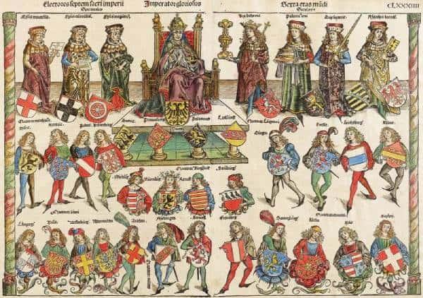 Ilustración del emperador del sacro imperio y algunos estados